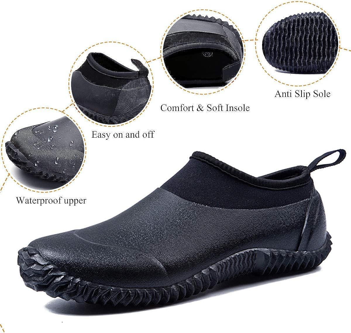 Bottines de Pluie Imperm/éable en Caoutchouc SabotsCuisine Chaussons de Sport Piscine Plage Semelle Antiderapant pour /Ét/é Gracosy Chaussures de Jardinage pour Hommes Femmes