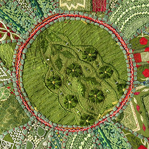 22'' GREEN ROUND PATCHWORK EMBROIDERED OTTOMAN POUF BOHEMIAN Indian Decorative