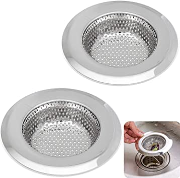 No Rust for Ever 2PCS Kitchen Sink Strainer Stainless Steel Drains Strainer Large 4.5 Inch Diameter for Kitchen Sinks