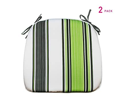 Stupendous Fabritones Outdoor Cushions 16X17 Inches 2 Pack Comfortable Seat Pads Navy Green White Stripe Square Chair Pads For Outdoor Patio Furniture Garden Ibusinesslaw Wood Chair Design Ideas Ibusinesslaworg