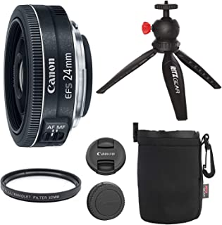 Canon EF-S 24mm f/2.8 STM Lens, Camera Lens, 12' Table Top Tripod, Ritz Gear Small Protective Pouch and Accessory Bundle
