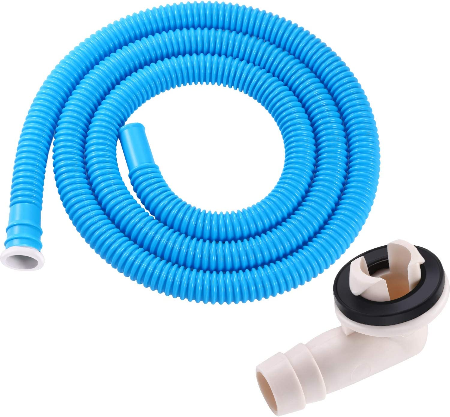 BBTO 3/5 Inch AC Drain Hose Connector Elbow Fitting with Rubber Ring for Mini-Split Units and Window AC Unit and Air Conditioner Drain Hose with 5.2 Feet Long