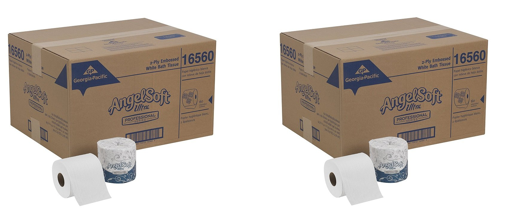 Georgia-Pacific Angel Soft Ultra Professional Series, 16560, White, 2-Ply Premium Embossed Toilet Paper, 4.05'' Length x 4.5'' Width (Case of 60 Rolls, 400 Sheets Per Roll) (2-(Case of 60 Rolls))