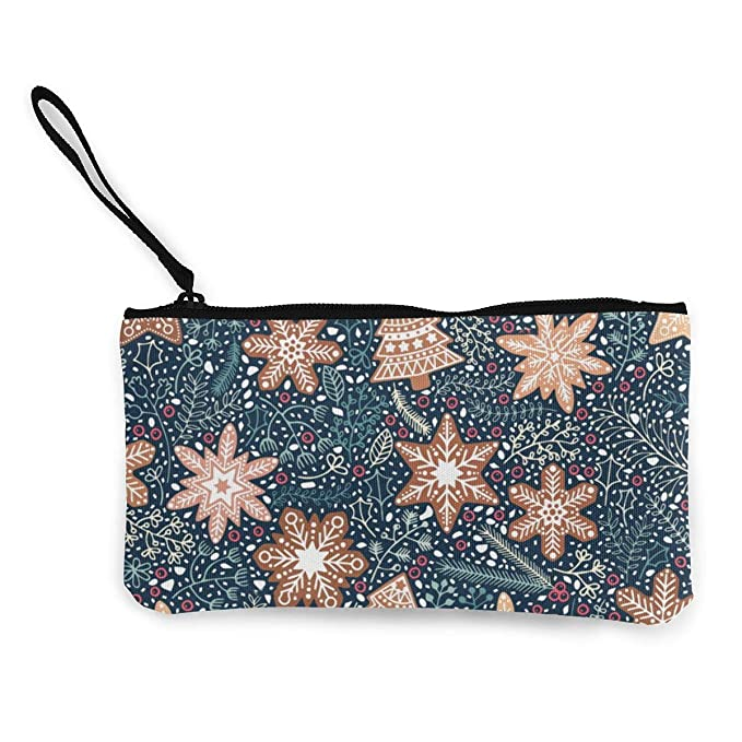 Gingerbread Snowflakes Christmas Flowers Pattern Canvas Change Coin