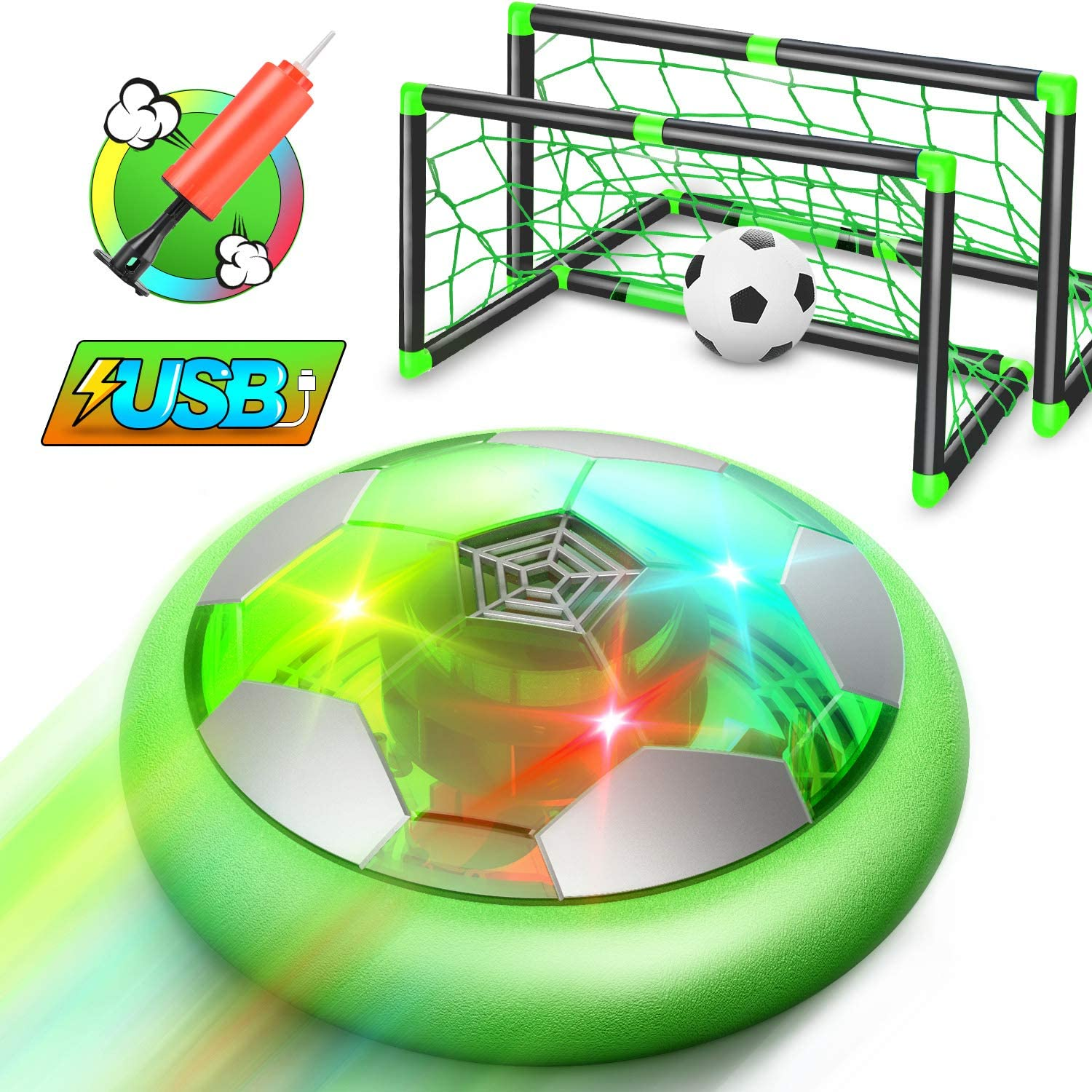 WisToyz Hover Soccer Ball Set Rechargeable Hover Soccer Set with Goals & Nets, Indoor Hover Soccer & Rubber Soccer Ball Included, Soccer Net Hover Soccer Set for Backyard, Toys for Boys Girls Kids