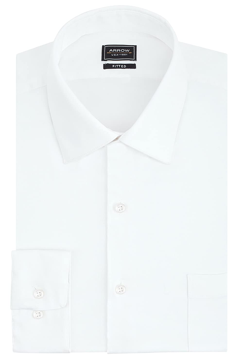 Arrow Men's Stretch Fitted Solid Spread Collar Dress Shirt 26W5479