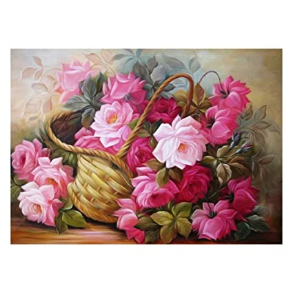 Rrimin flower basket 5d diamond diy painting craft home decor 40 rrimin flower basket 5d diamond diy painting craft home decor 4030cm no mightylinksfo