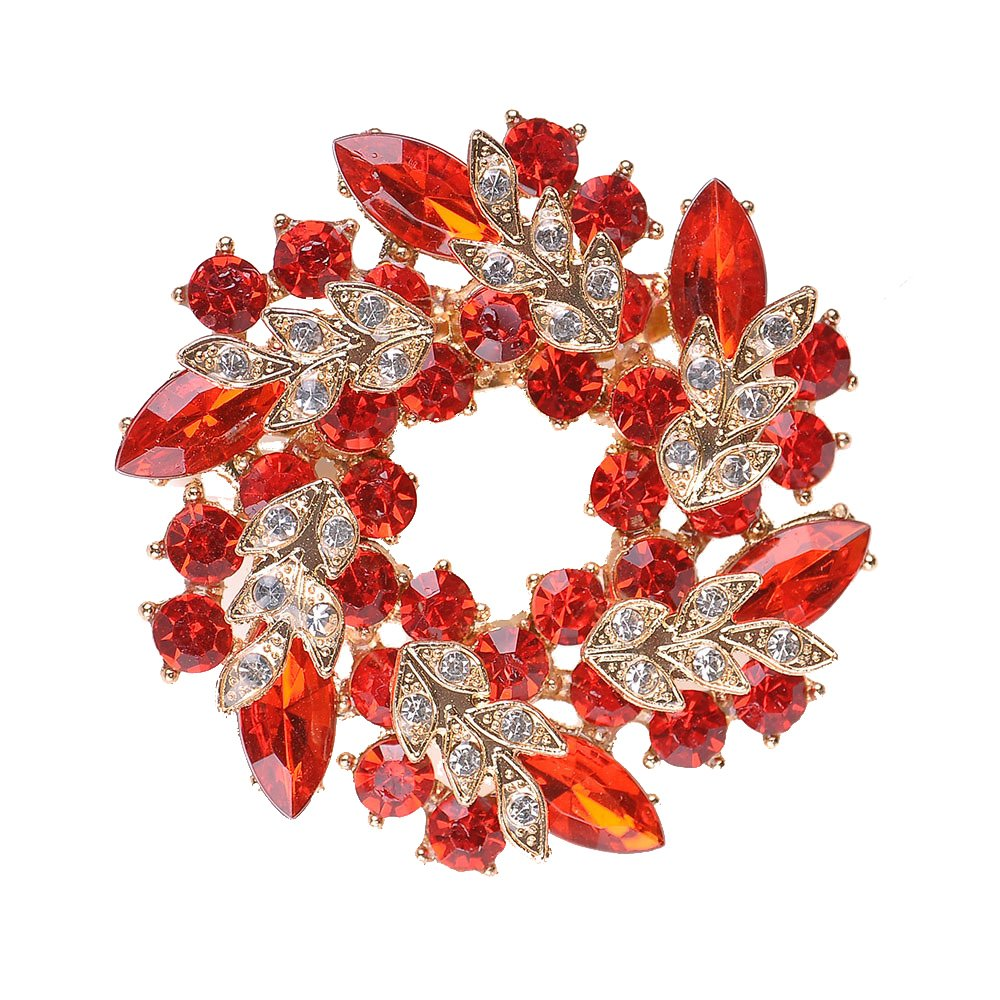 MUZHE Hoop Hollow Crystal Circle Flower Brooch Pin Wreath Corsage for Girl Christmas Gift (Red) by MUZHE (Image #1)