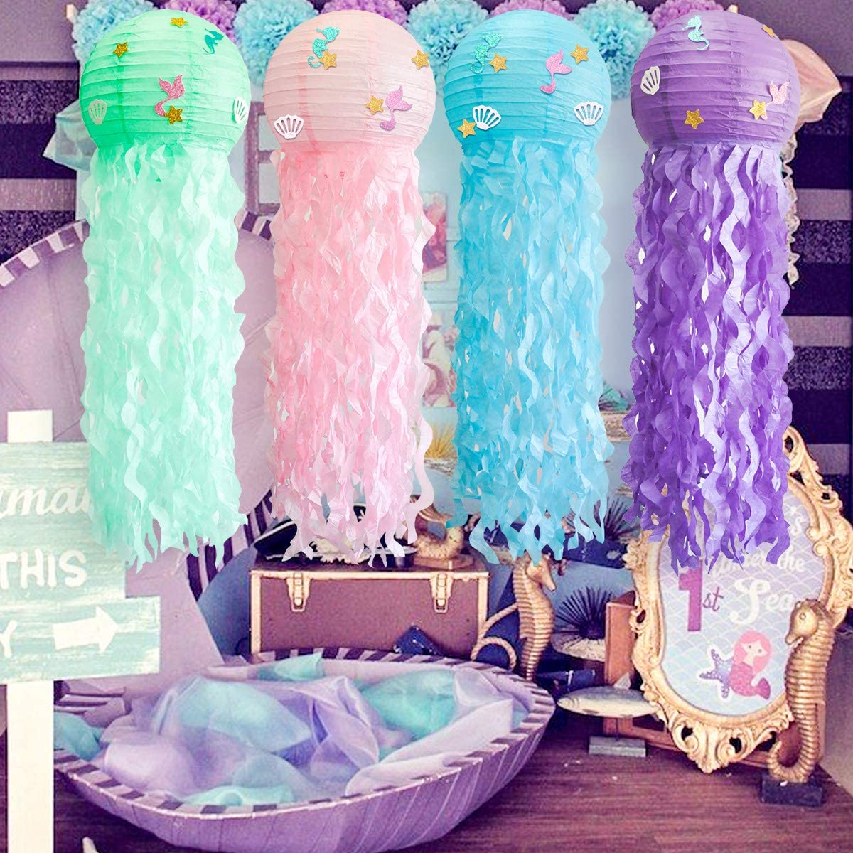 4 pcs/set Jelly Fish Paper Lanterns Kit, Green Pink Purple Blue Cute Hanging Mermaid Wishes Lantern, 4 Pack Baby Shower Child Birthday Party Decoration Lamps Set, Indoor and Outdoor Undersea Event Party Supplies