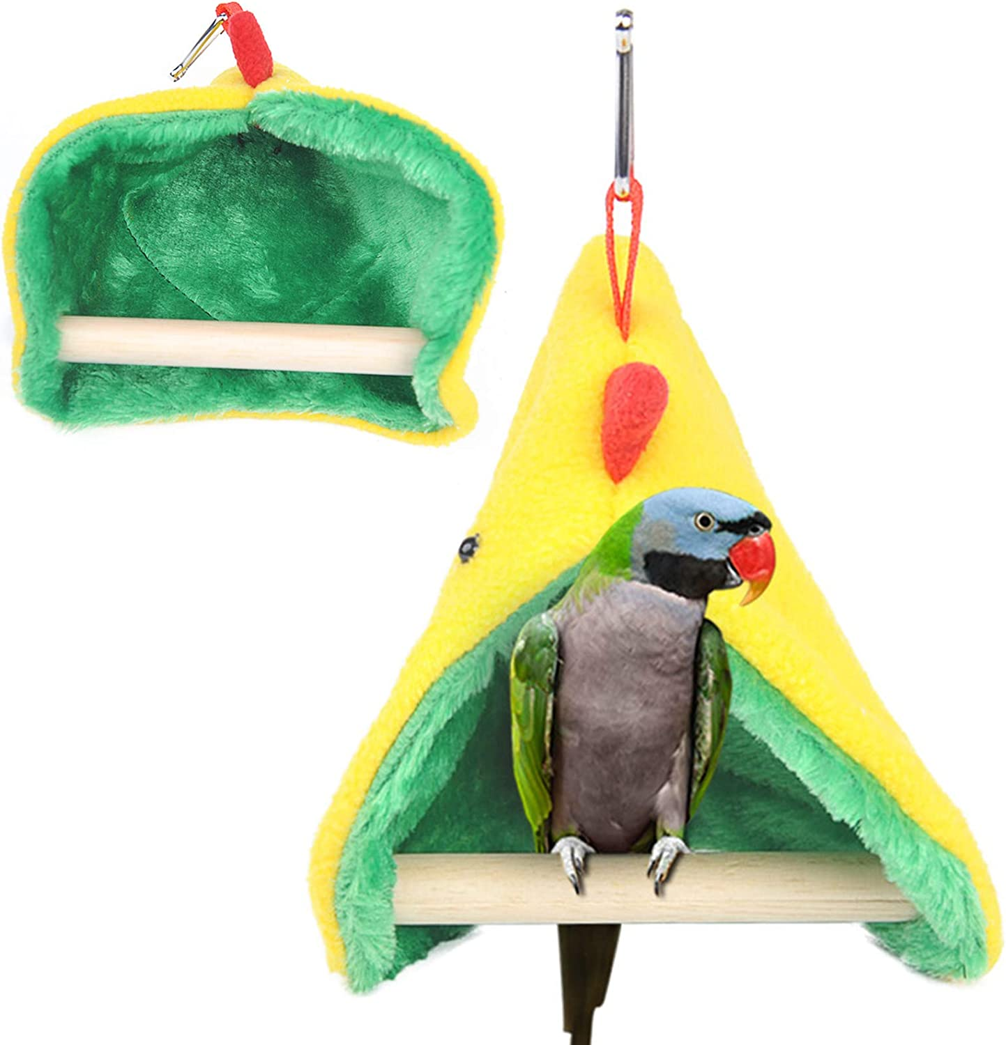 Small Birds Tent Winter Warm Plus Hut,Parrot Habitat with Standing Stick Bird Nest Hanging Hammock for Cage,Hideaway Cave Snuggle Sleeping Bed for Budgie Lovebirds Canaries Finches Small Conures