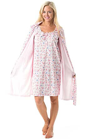 Casual Nights Women s 2 Piece Robe and Nightgown Set Floral Print With Lace  Trim - Pink 2bd5bb449