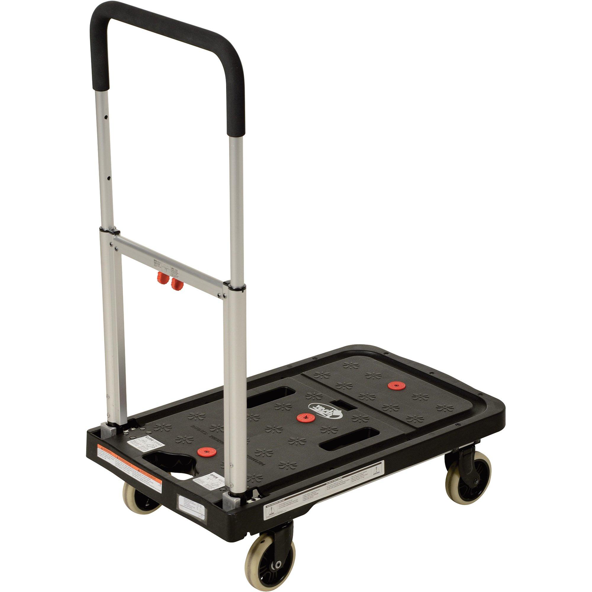 Vestil FF-FPT-1627 Fold Flat Plastic Cart, 26.75'' Length, 16.25'' Width, 36.5'' Height, 300 lb., Black by Vestil (Image #3)