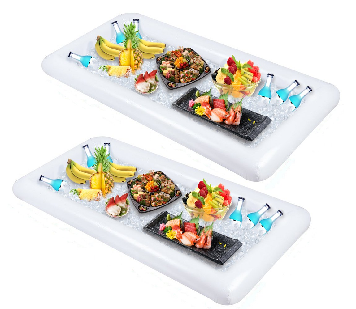 2 PCS Inflatable Serving/Salad Bar Tray Food Drink Holder - BBQ Picnic Pool Party Buffet Luau Cooler,with a drain plug by Moon Boat