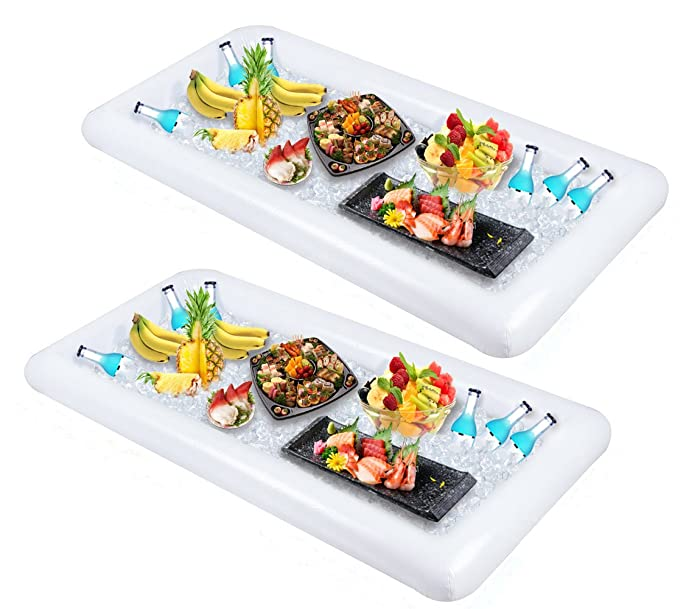 2 PCS Inflatable Serving/Salad Bar Tray Food Drink Holder - BBQ Picnic Pool Party Buffet Luau Cooler,with a drain plug