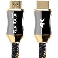 QualGear QG-PCBL-HD20-3FT - Cable HDMI Tipo A Macho a HDMI Tipo A Macho con Ethernet, 4 K, 3D, 3 pies, Color Negro, Negro - 1 Unidad, 1.8 m, 1,82m