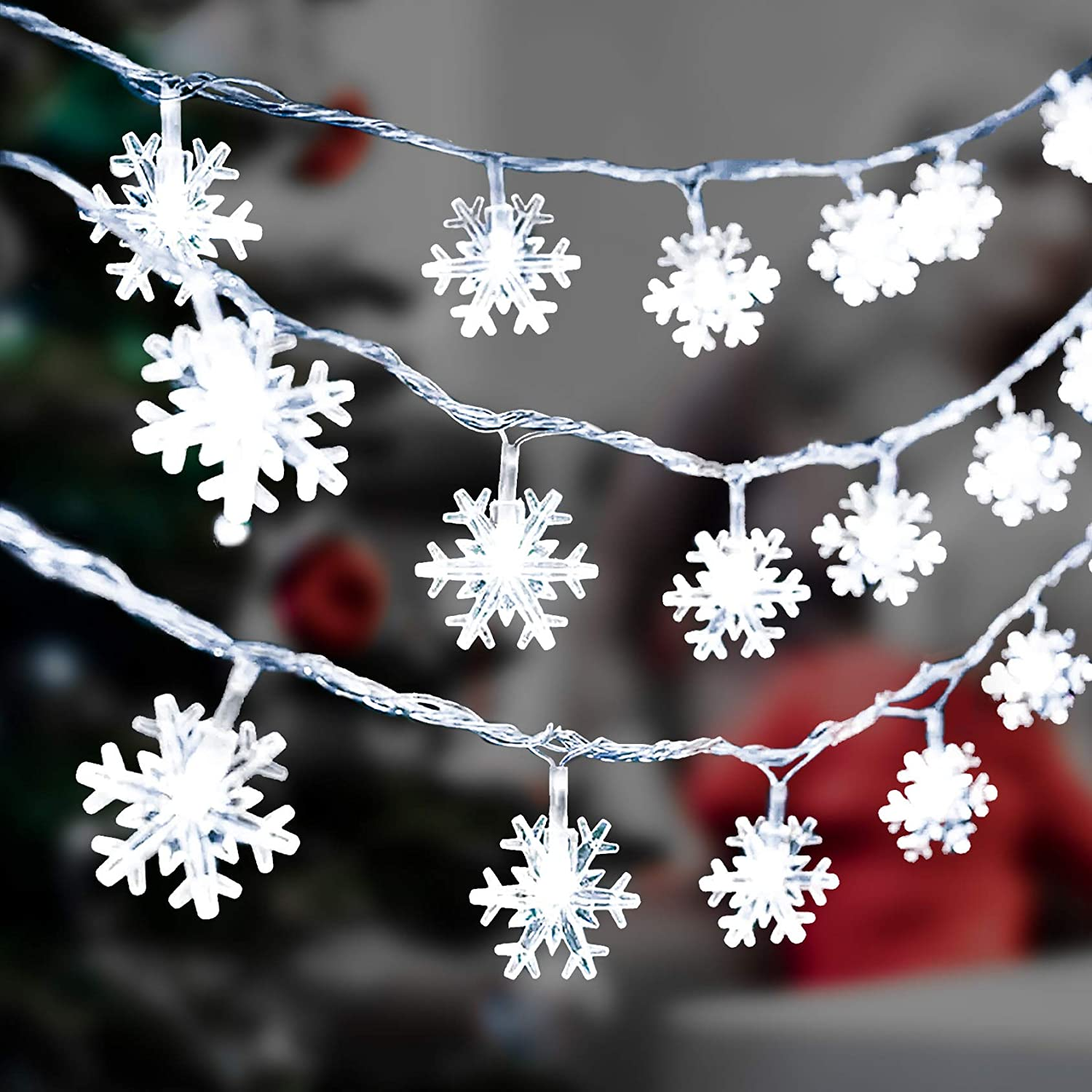Aonsen DANTENG Christmas Lights, Snowflake Lights 20ft 40 LED Fairy Lights Battery Operated Waterproof Decorative for Xmas Garden Patio Bedroom Party Decor Indoor Outdoor Hanging Snowflakes Decor…