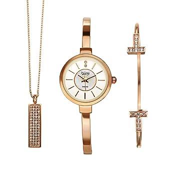 7bd4e96c386506 Burgi Women s 3 Piece Jewelry Gift Set – Half Bangle Diamond Watch with Swarovski  Crystal Pendant Necklace and Bracelet Flash Plated -