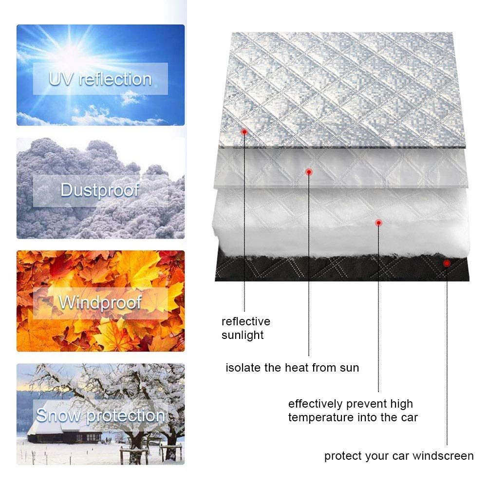 opamoo Car Windshield Snow Cover Sun Shade Protector for All Weather Snow Ice Frost Sun and Wind Car Snow Cover with Cotton Thicker Snow Protection Cover Fits Most Cars