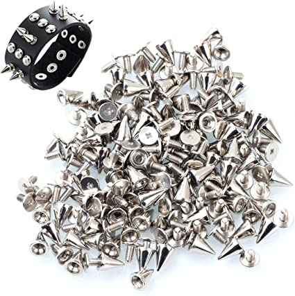 100Pcs Cone Metal Spikes Punk Rivets Screwback Studs for Jacket/_Craft Garment US