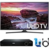 """Samsung UN40MU6290 Flat 39.9"""" LED 4K UHD 6 Series Smart TV (2017 Model) w/ HDMI DVD Player Bundle Includes, HDMI 1080p High Definition DVD Player, 6ft High Speed HDMI Cable and LED TV Screen Cleaner"""