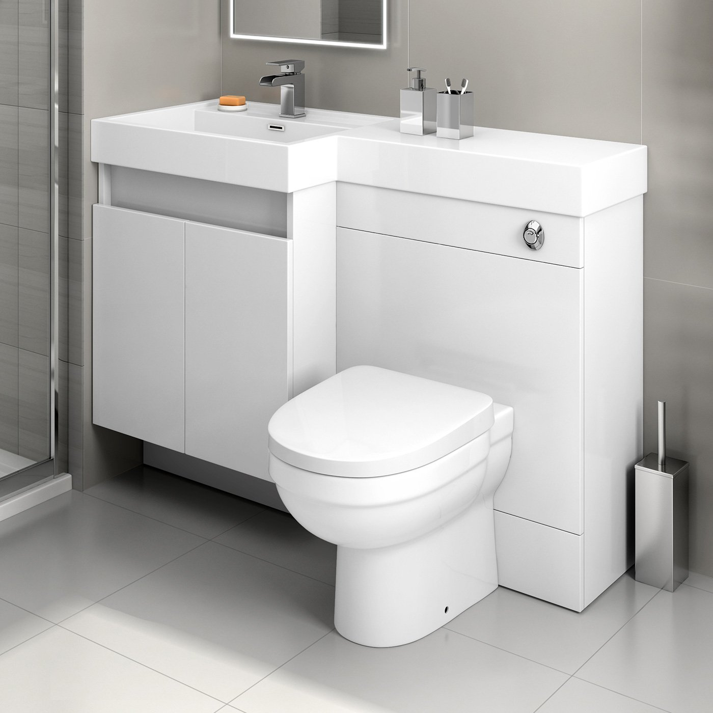 1200mm White Vanity Unit Back to Wall Toilet Bathroom Sink Furniture ...