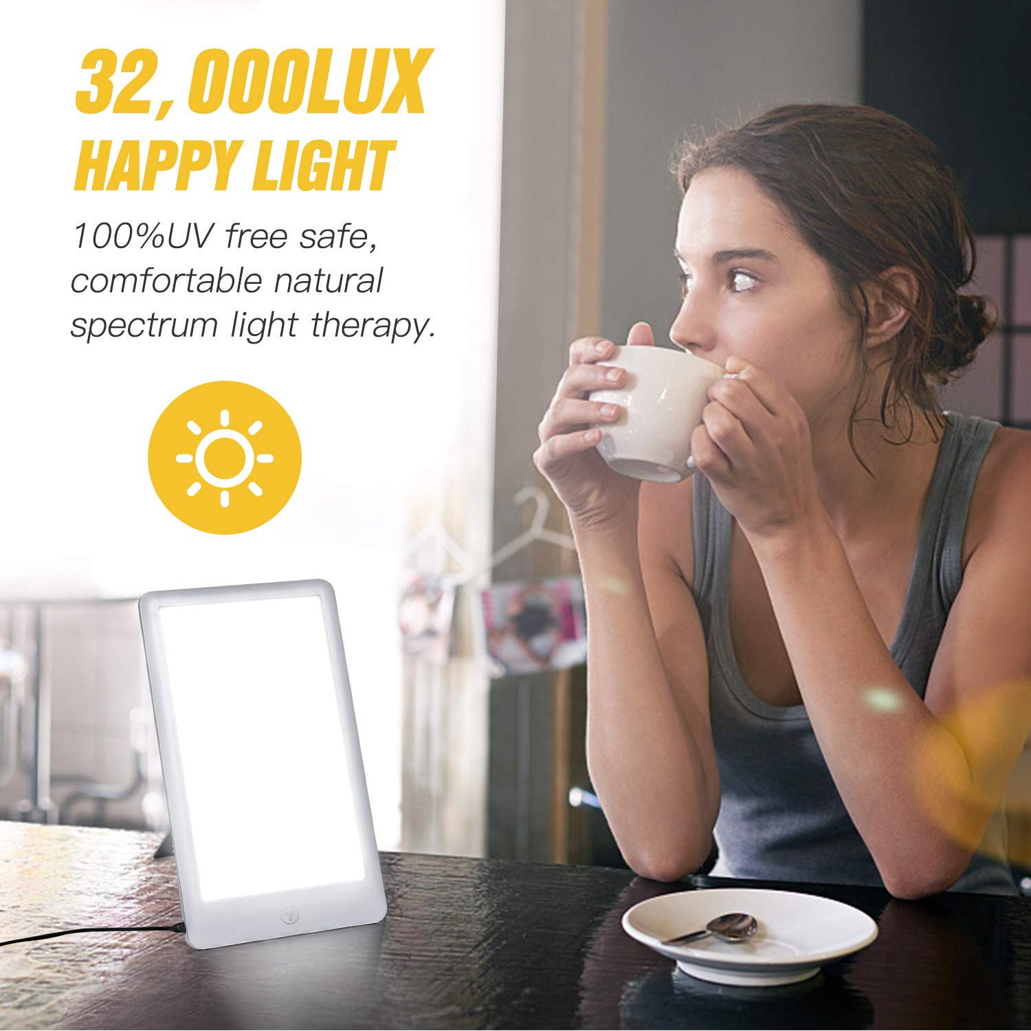 Light Therapy Lamp, 3 Brightness Levels Light Therapy Energy Box, Full Spectrum UV Free & Touch Control, Portable Sun Lamps for Happy Life, Max 32,000 LUX, White by sakobs (Image #2)