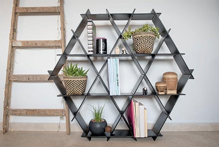 Black Hexagon Bookcase Shelving Unit Home Bar Size L Cardboard - Cardboard-bookshelves