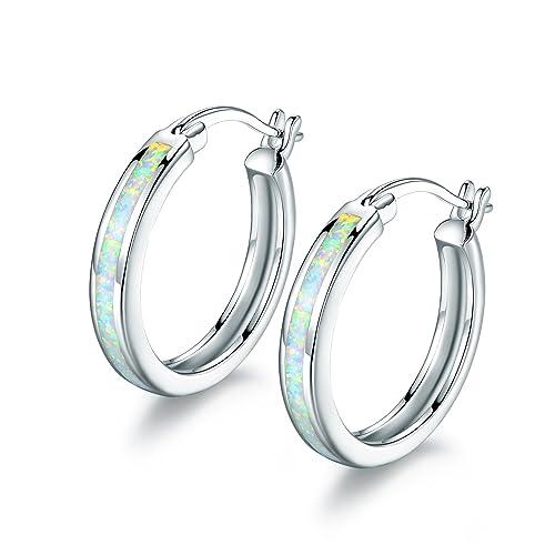 2ca9056581ce2 Barzel 18K Rose Gold Plated Created Opal Hoop Earring