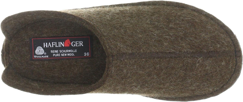 HAFLINGER Men's Wool Felt Open Back Slippers Brown Schoko 552