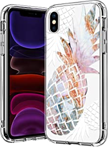 bicol iPhone X Case,iPhone Xs Case,Marble Pineapples Pattern Clear Design Transparent Plastic Hard Back Case with TPU Bumper Protective Case Cover for Apple iPhone X/iPhone Xs