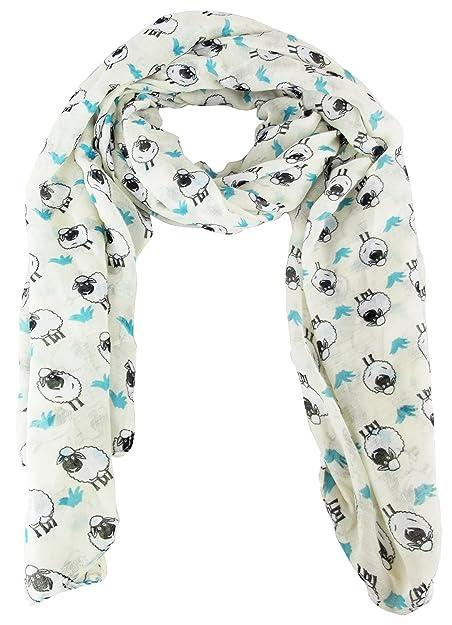 UKFS Collection - Echarpe foulard imprimé mouton modèle femme fille - Taille  unique, bleu foncé  Amazon.fr  Chaussures et Sacs c95f8bcc6b3