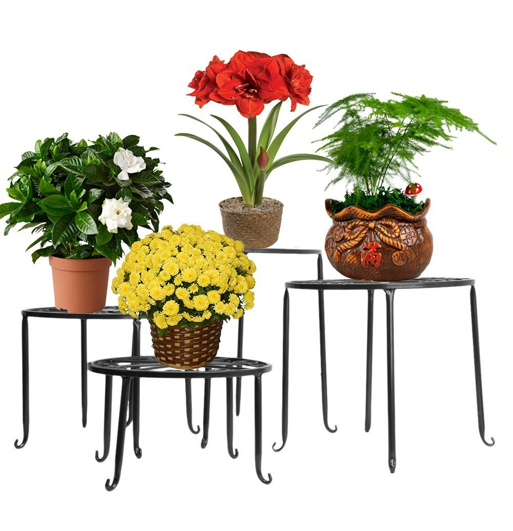 tag re de pots fleurs plantes jardini re tabouret en m tal fer forge ebay. Black Bedroom Furniture Sets. Home Design Ideas