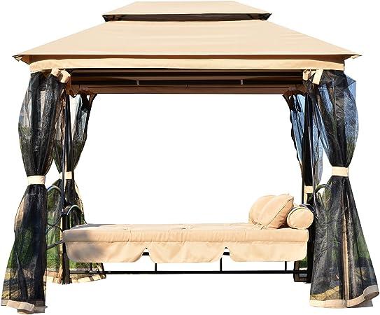 Outsunny Columpio 3 Plazas Techo Doble y Cama + Mosquitera 232x149x234cm Mecedora balancin Jardin terraza