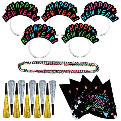amosfun 5pcs happy new year headbands tiara 5pcs bead necklace 5pcs party cone hat 10pcs noisemaker