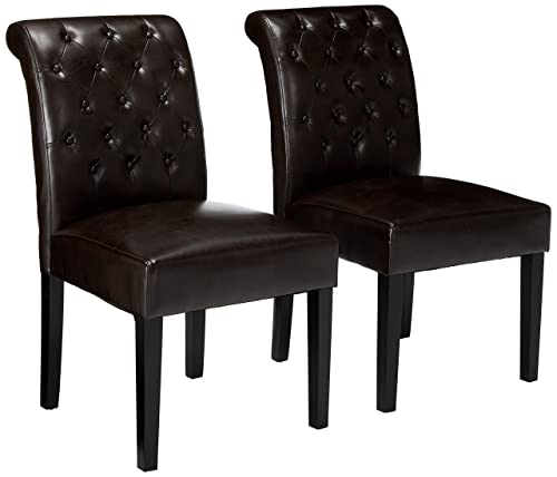 Christopher Knight Home Elliston Brown Leather Dining Chair Set of 2