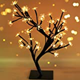 "BRIGHT ZEAL 17.5"" Battery Operated LED Cherry Blossom Tree with Lights (6hr Timer) - Bonsai Lighted Tree - Cherry Blossom Tree Light Lamp Tabletop LED Tree Lamp - Spring Home Decor Artificial Plants"