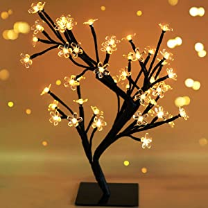 "Bright Zeal 18"" Battery Operated LED Cherry Blossom Tree Lights (6hr Timer) - Bonsai Lighted Tree - Cherry Blossom Tree Light Tabletop LED Tree Lamp - Spring Home Decor Artificial Plants BZY"