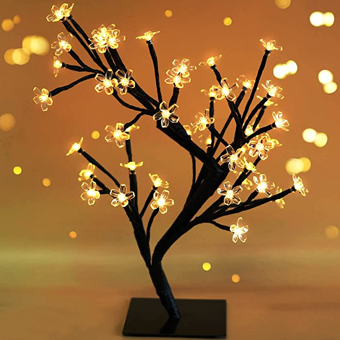 """Bright Zeal 18"""" Battery Operated LED Cherry Blossom Tree Lights (6hr Timer) - Bonsai Lighted Tree - Cherry Blossom Tree Light Tabletop LED Tree Lamp - Spring Home Decor Artificial Plants BZY"""