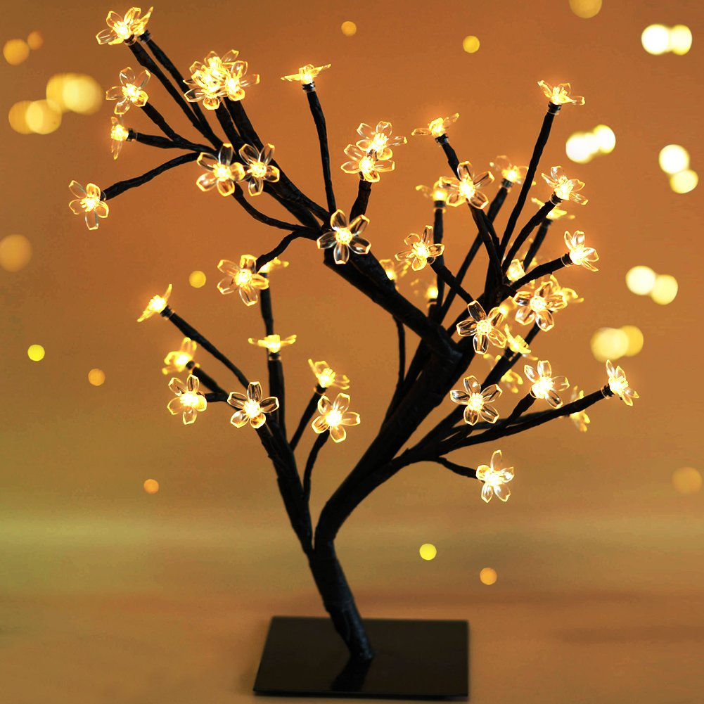 Bright Zeal 18'' Battery Operated LED Cherry Blossom Tree Lights (6hr Timer) - Bonsai Lighted Tree - Cherry Blossom Tree Light Tabletop LED Tree Lamp - Spring Home Decor Artificial Plants BZY