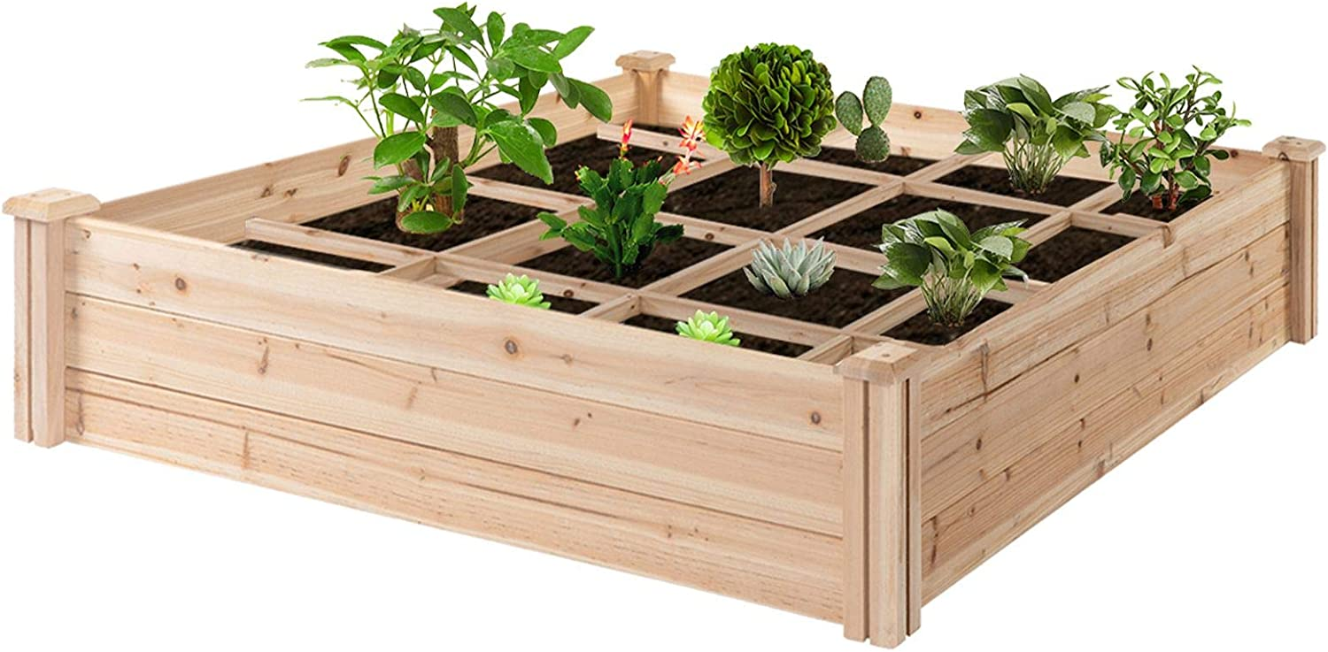 Outsunny 4ft x 4ft Backyard Raised Garden Bed Box with Segmented Growing Grid, Wood Material for Plants & Herbs