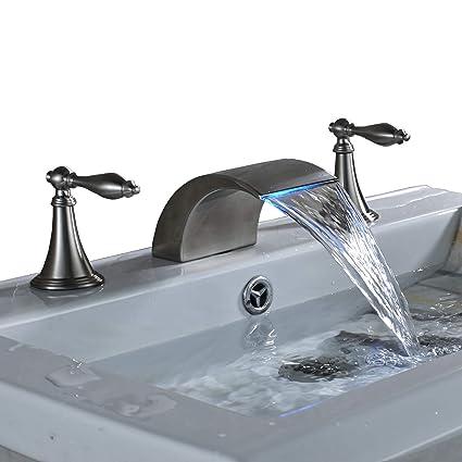 Rozin Brushed Nickel Finish Led Colors Waterfall Bathroom Sink