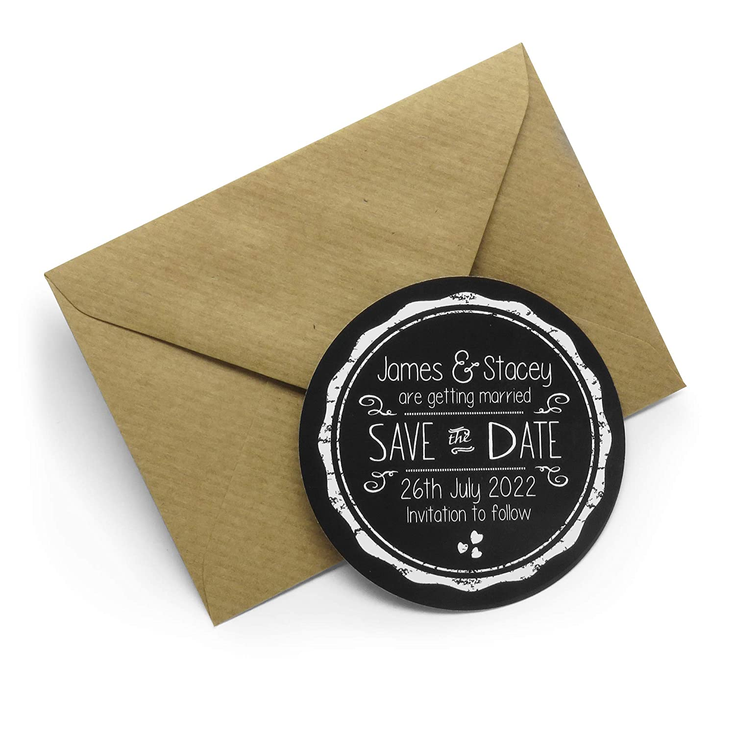 Set of 48 Save the Date Personalised Magnets with Brown Envelopes Assorted Colours Available Chalkboard 70mm