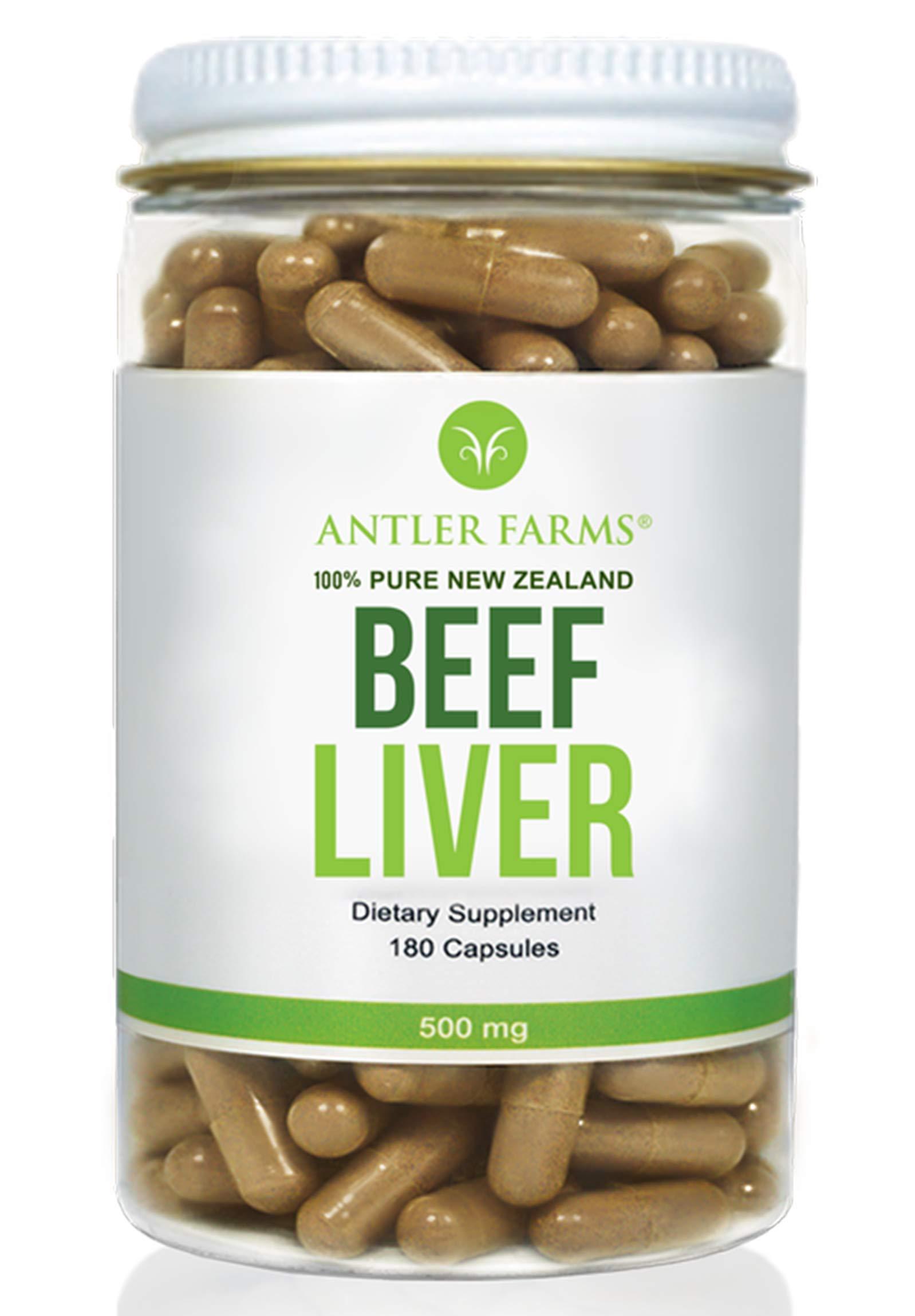 Antler Farms - 100% Pure New Zealand Beef Liver, 180 Capsules, 500mg - Grass Fed, Cold Processed Supplement, NO Hormones, NO Antibiotics, NO Chemicals, NO GMOs
