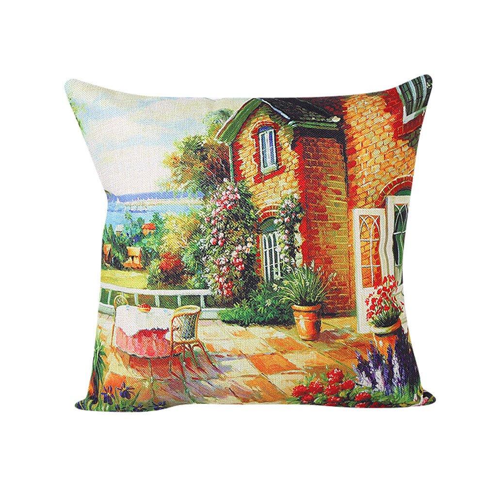 Pgojuni Accent Landscape Cushion Cover Throw Waist Pillow Case Pillow Cover Cushion Cover for Sofa/Car/Bed 1pc (E)