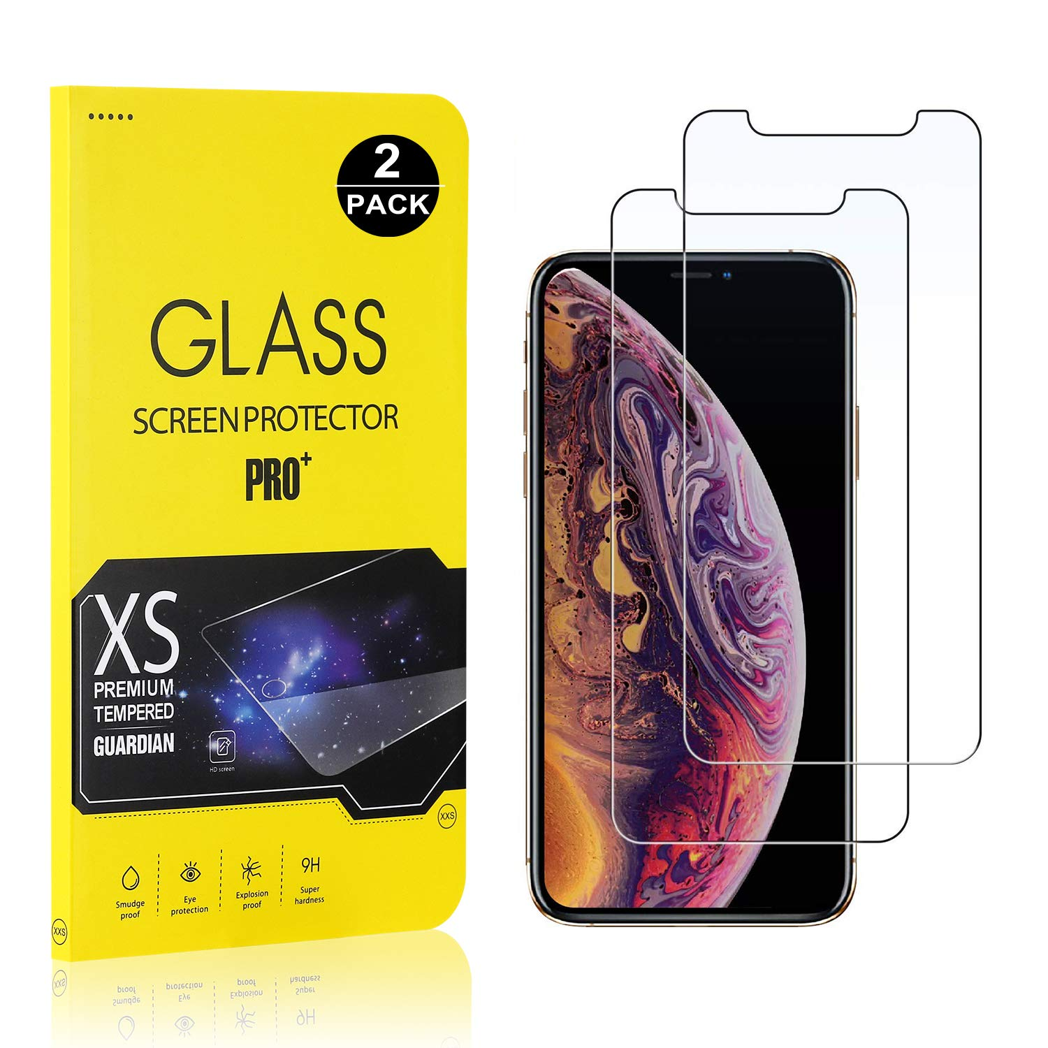 Screen Protector for iPhone Xs/iPhone X, Bear Village Tempered Glass Screen Protector, 9H Hardness Screen Protector Film for iPhone Xs/iPhone X, 2 Pack