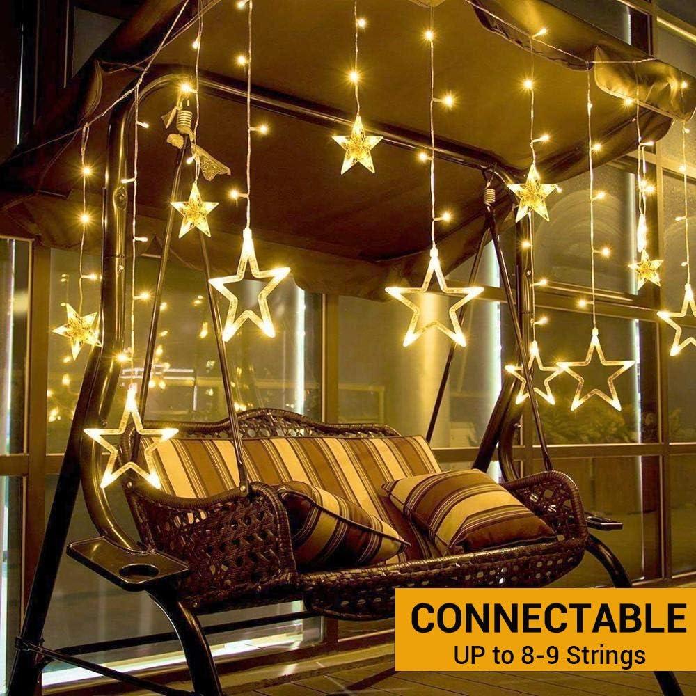 Elegear Guirnalda luces Estrella 138 LED 8 Modos de Flash Cortina ...