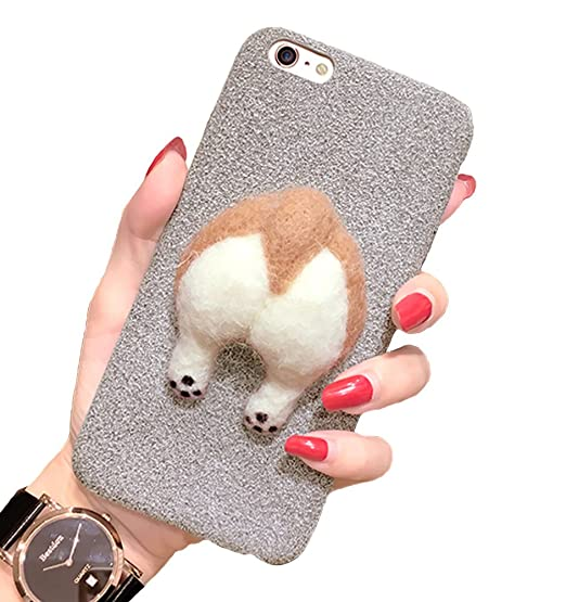 size 40 41d13 1e4af iPhone 6 Case, Welsh Corgi Cute Dog Bottom Case Soft Rubber Unique Creative  Fashion Design Case for iPhone 6s with Neck Lanyard (iPhone 6/6s, Gray)