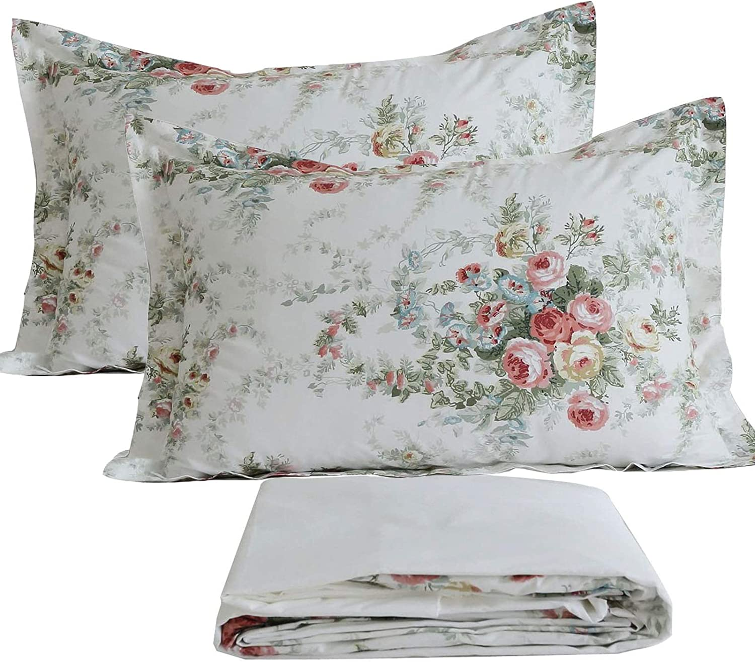 FADFAY Garden Floral Sheet Set Twin Vintage Rose 100% Cotton Hypoallergenic White and Grey Bed Sheets Ultra Soft Girls Princess Romantic Rose Kids Bedroom Deep Pocket Fitted Sheet 4-Pcs