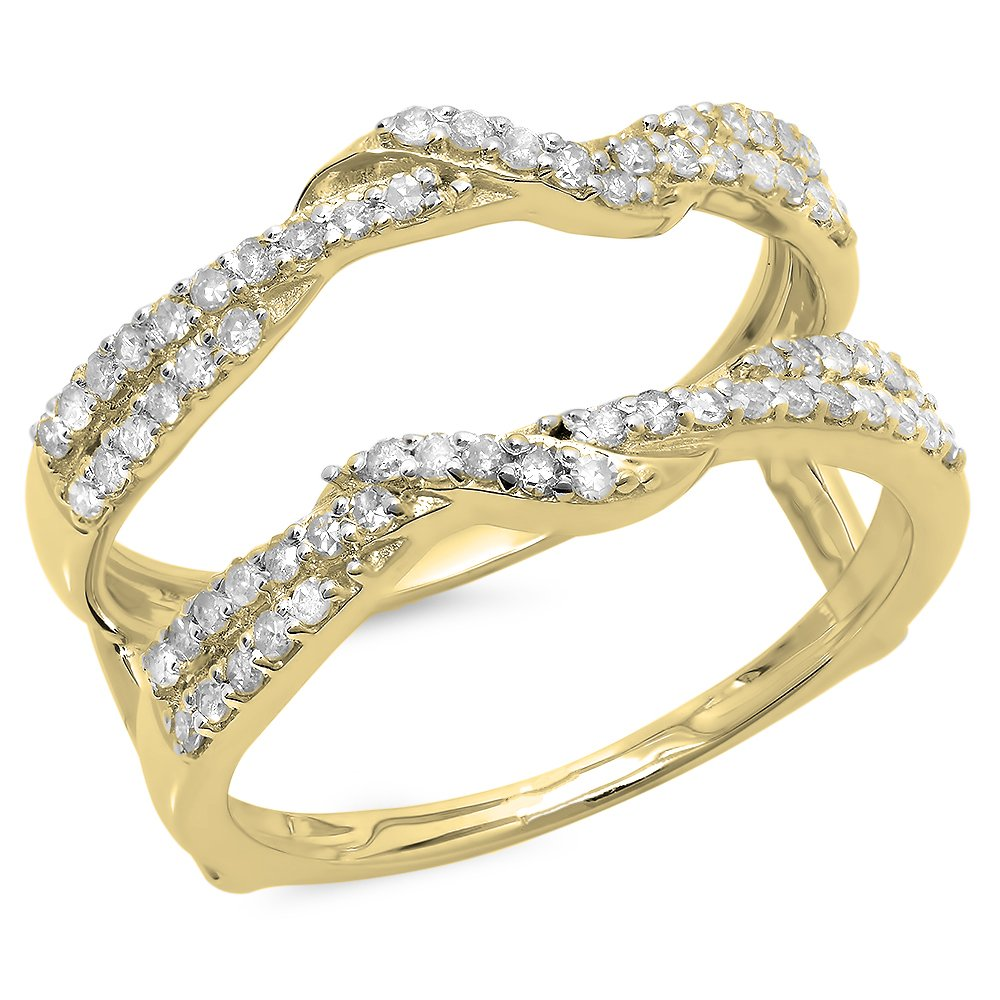 0.55 Carat (ctw) 14K Yellow Gold Round Diamond Ladies Wedding Swirl Guard Double Ring 1/2 CT (Size 7)