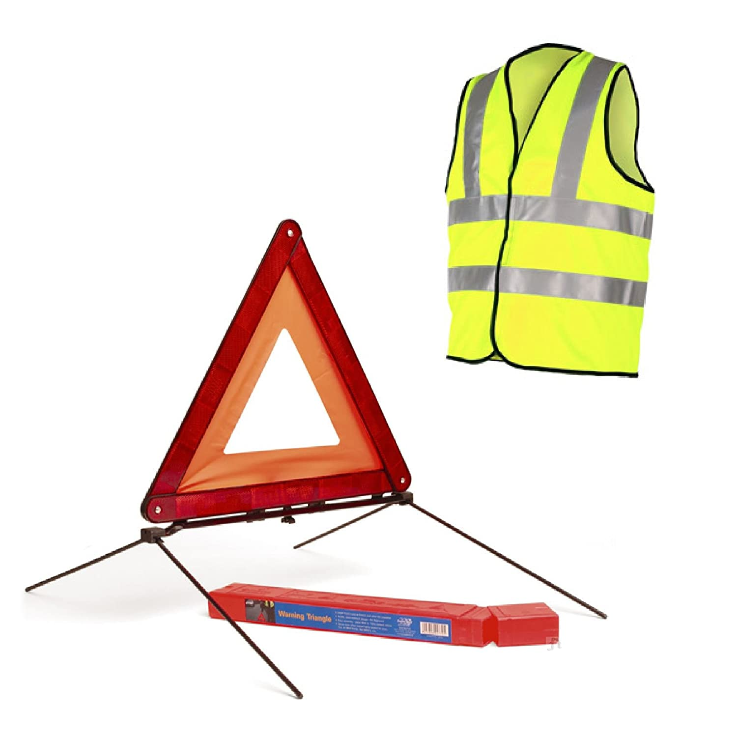 Reflective Large Warning Triangle Sign & Safety Vest / Car Hazard EU Emergency